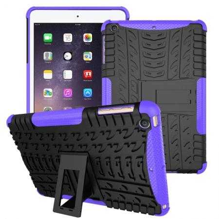 Durable ShockProof Hybrid Hard Stand TPU Case Cover For iPad mini 3/iPad mini 2 - Purple