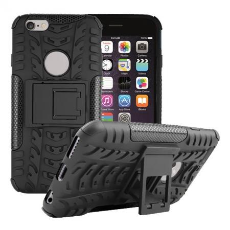 Hyun Pattern Hard Plastic Soft TPU Combo Stand Case For iPhone 6 4.7inch - Black