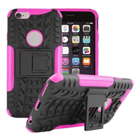 Hyun Pattern Hard Plastic Soft TPU Combo Stand Case For iPhone 6 4.7inch - Hot pink