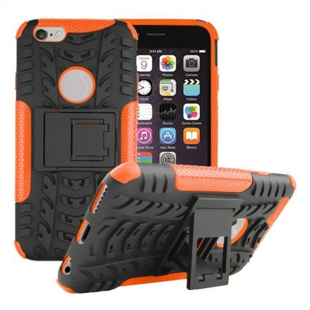 Hyun Pattern Hard Plastic Soft TPU Combo Stand Case For iPhone 6 4.7inch - Orange