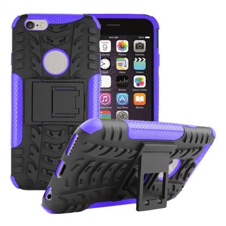 Hyun Pattern Hard Plastic Soft TPU Combo Stand Case For iPhone 6 4.7inch - Purple