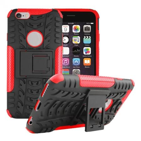 Hyun Pattern Hard Plastic Soft TPU Combo Stand Case For iPhone 6 4.7inch - Red