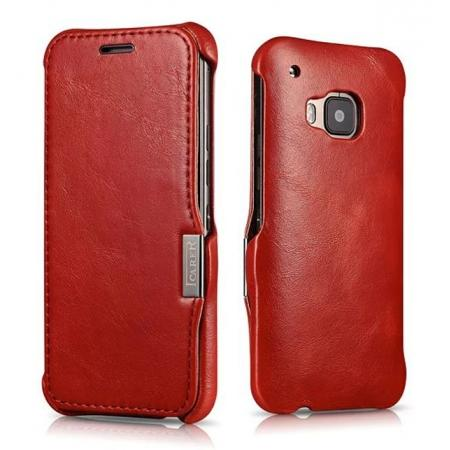 ICARER Vintage Series Genuine Cowhide Leather Magnetic Flip Case For HTC One M9 - Red