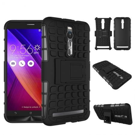 Shockproof Armor Design TPU Hard Case Cover Stand for Asus Zenfone 2 5.5inch - Black