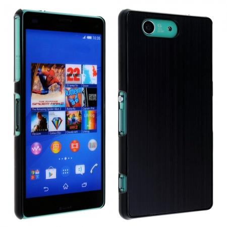 Brushed Aluminium Hard Back Cover Case for Sony Xperia Z3 Compact/Z3Mini - Black