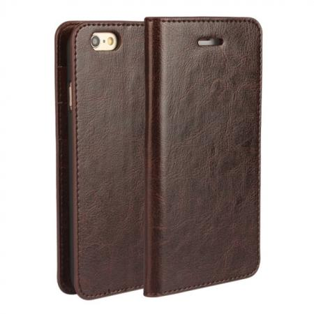 Crazy Horse Genuine Leather Wallet Stand Case for iPhone 6/6S 4.7inch - Coffee