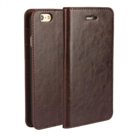 Crazy Horse Genuine Leather Wallet Stand Case for iPhone 6 Plus/6S Plus 5.5inch - Coffee