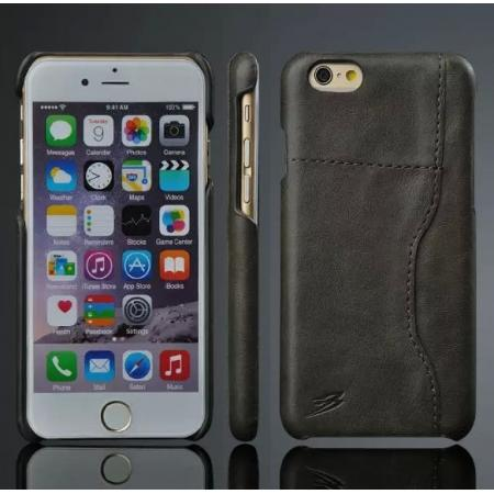 Genuine Cowhide Leather Back Case Cover for iPhone 6/6S 4.7 Inch With Credit Card holder - Black