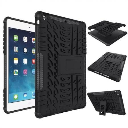 Hyun Pattern Dual Layer Hybrid Protective Case with Stand For iPad AIR/iPad 5 - Black