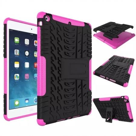 Hyun Pattern Dual Layer Hybrid Protective Case with Stand For iPad AIR/iPad 5 - Hot pink
