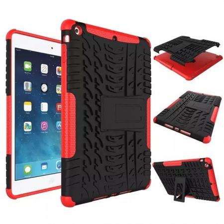 Hyun Pattern Dual Layer Hybrid Protective Case with Stand For iPad AIR/iPad 5 - Red