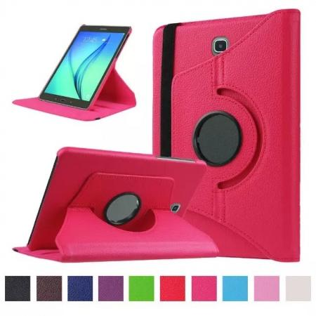 360 Degrees Rotating Stand Leather Case For Samsung Galaxy Tab S2 8.0 T715 - Hot pink
