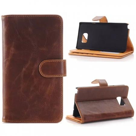 Crazy Horse Flip Stand Leather Case for Samsung Galaxy Note 5 With Dual Layer Credit Card Holder - Coffee