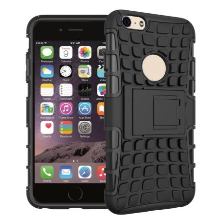 Shockproof Dual Layer Hybrid Case With Built In Stand For iPhone 6S - Black