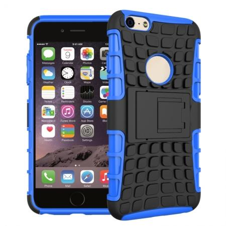 Shockproof Dual Layer Hybrid Case With Built In Stand For iPhone 6S - Blue