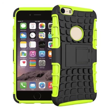 Shockproof Dual Layer Hybrid Case With Built In Stand For iPhone 6S - Green