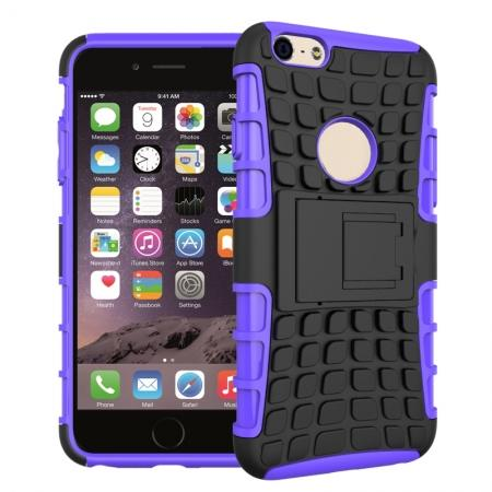 Shockproof Dual Layer Hybrid Case With Built In Stand For iPhone 6S - Purple