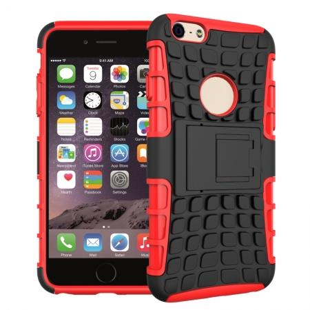 Shockproof Dual Layer Hybrid Case With Built In Stand For iPhone 6S - Red