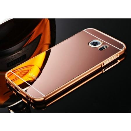 Aluminum Metal Bumper with Mirror Acrylic Plastic Back Cover for Samsung Galaxy S6 - Rose gold