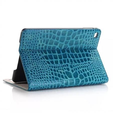 Crocodile Pattern PU Leather Wallet Stand Case for iPad Mini 4 - Blue