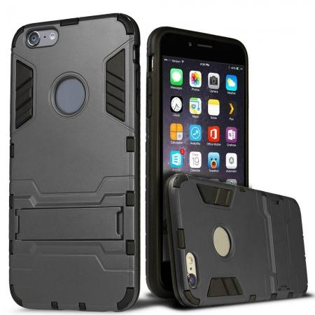 Hybrid Dual Layer Armor Shockproof Case with Stand For iPhone 6 4.7inch - Gray