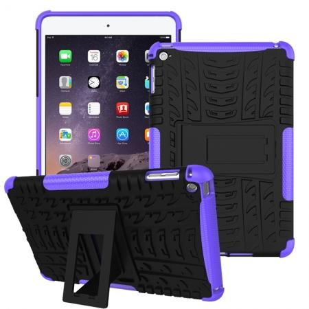 Hyun Pattern Dual Layer Hybrid ShockProof Case Cover For iPad mini 4 - Purple