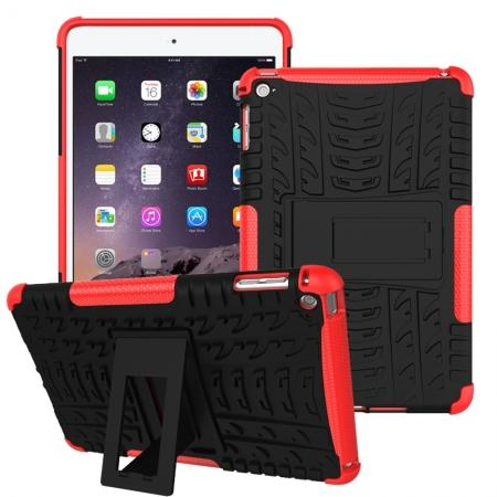 Hyun Pattern Dual Layer Hybrid ShockProof Case Cover For iPad mini 4 - Red