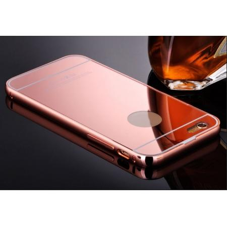 Luxury Aluminum Metal Bumper with Mirror Acrylic Back Cover for iPhone 6S/6 4.7inch - Rose gold