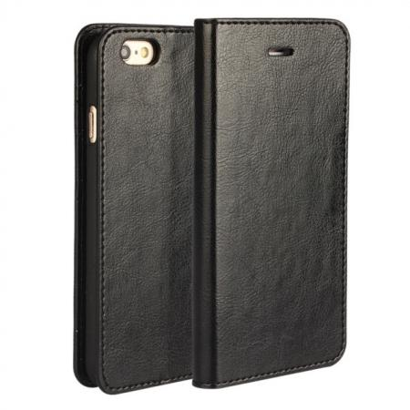 Luxury Genuine Crazy Horse Leather Wallet Case Cover For iPhone 6S 4.7 Inch - Black