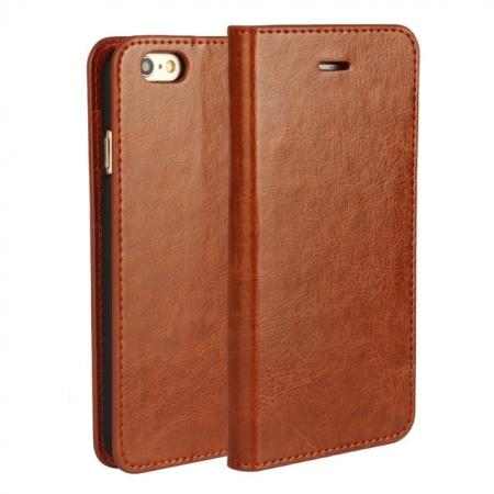 Luxury Genuine Crazy Horse Leather Wallet Case Cover For iPhone 6S 4.7 Inch - Brown