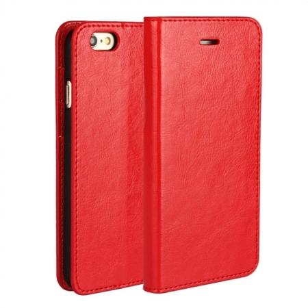 Luxury Genuine Crazy Horse Leather Wallet Case Cover For iPhone 6S 4.7 Inch - Red
