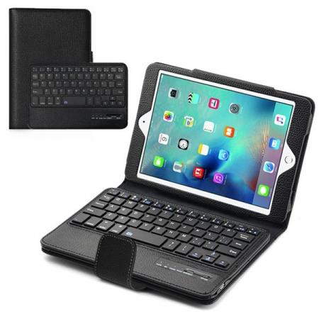 Removable Detachable Wireless Bluetooth Keyboard PU Leather Case Tablet Stand for iPad Mini 4 - Black