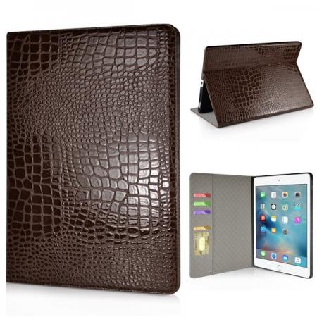 Alligator Pattern Flip Stand Leather Case For iPad Pro 12.9 inch With Card Slots - Brown