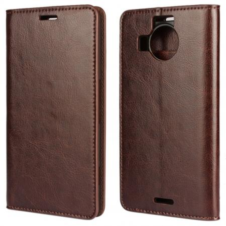 Crazy Horse Genuine Leather Wallet Case for Microsoft Lumia 950XL with Card Slots - Coffee