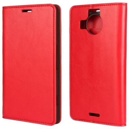 Crazy Horse Genuine Leather Wallet Case for Microsoft Lumia 950XL with Card Slots - Red