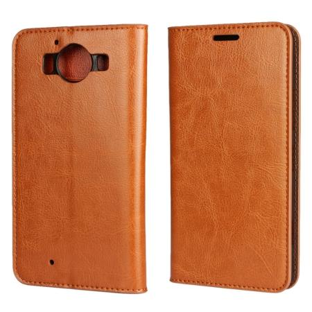 Crazy Horse Texture Flip Stand Genuine Leather Case for Microsoft Lumia 950 with Card Slots - Brown