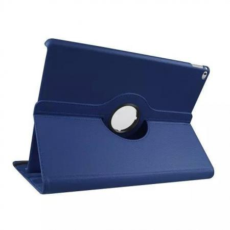Litchi Grain 360 Rotate Flip Stand PU Leather Tablet Cover Case For iPad Pro 12.9 Inch - Dark Blue