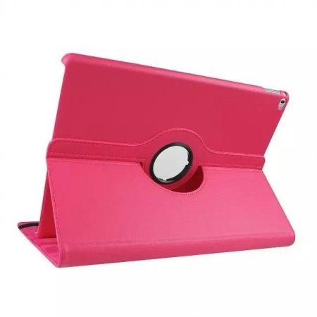 Litchi Grain 360 Rotate Flip Stand PU Leather Tablet Cover Case For iPad Pro 12.9 Inch - Rose red
