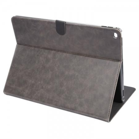 Luxury Crazy Horse Leather Stand Cover Case Card Holder for iPad Pro 12.9inch - Grey