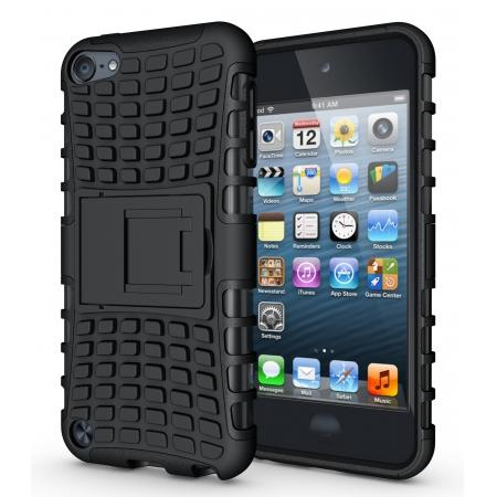 Armor Kickstand Hard & Soft Rubber Hybrid Case Cover For Apple iPod Touch 6th Gen - Black