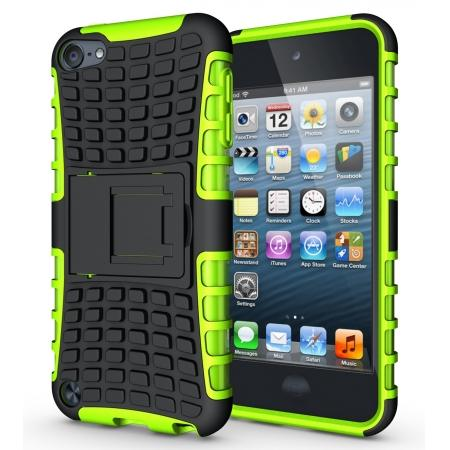 Armor Kickstand Hard & Soft Rubber Hybrid Case Cover For Apple iPod Touch 6th Gen - Green