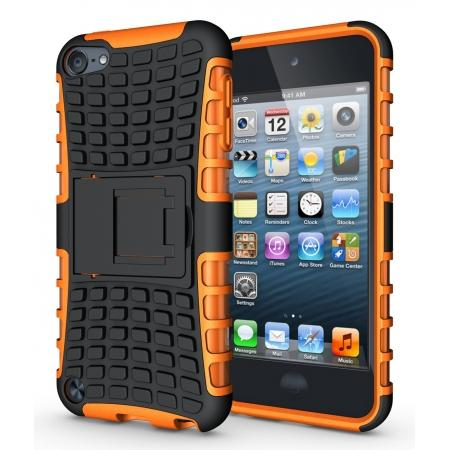 Armor Kickstand Hard & Soft Rubber Hybrid Case Cover For Apple iPod Touch 6th Gen - Orange