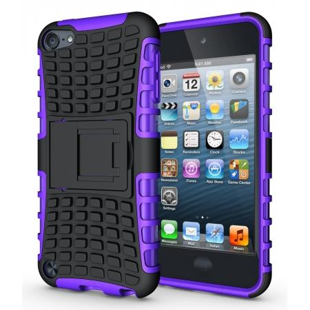Armor Kickstand Hard & Soft Rubber Hybrid Case Cover For Apple iPod Touch 6th Gen - Purple