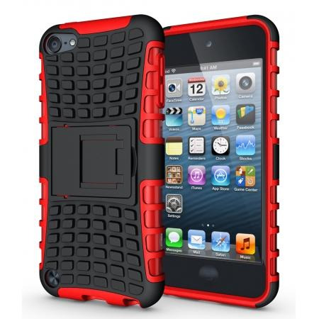 Armor Kickstand Hard & Soft Rubber Hybrid Case Cover For Apple iPod Touch 6th Gen - Red