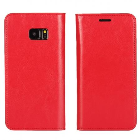 Crazy Horse Genuine Leather Flip Wallet Stand Case for Samsung Galaxy S7 Edge G935 with Card Slots - Red