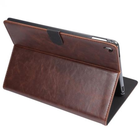Crazy Horse Grain Leather Stand Flip Case for 9.7-inch iPad Pro with Card Holder - Coffee