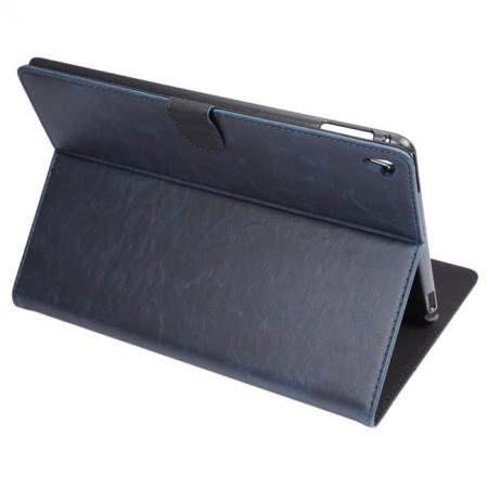 Crazy Horse Grain Leather Stand Flip Case for 9.7-inch iPad Pro with Card Holder - Navy Blue