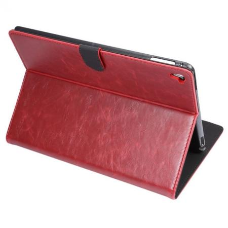 Crazy Horse Grain Leather Stand Flip Case for 9.7-inch iPad Pro with Card Holder - Wine Red