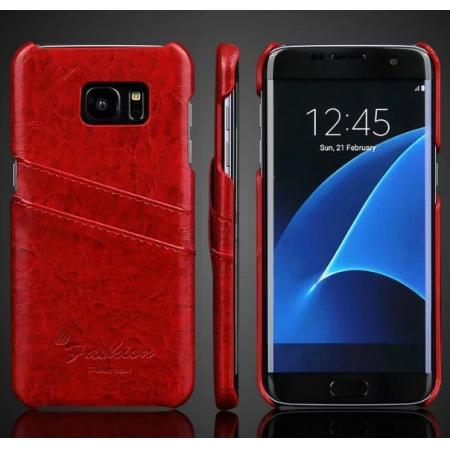 Fashion Oil Wax Grain PU Leather Back Cover Case With Card Slot for Samsung Galaxy S7 Edge - Red