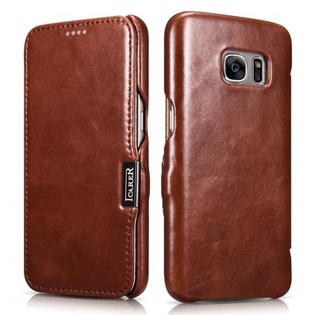 ICARER Vintage Genuine Leather Magnetic Flip Case For Samsung Galaxy S7 - Brown